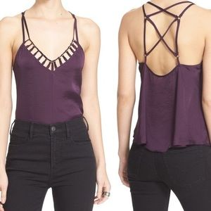 FREE PEOPLE   Strappy Back Top purple cage